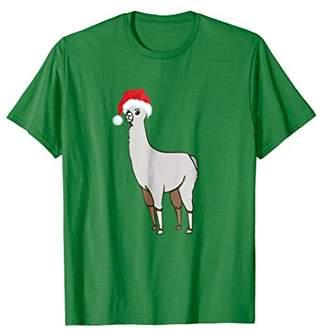 Christmas Santa Hat Llama Funny Graphic T-shirt