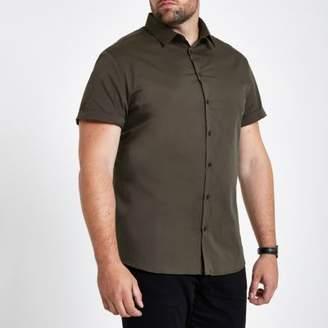 River Island Big and Tall green poplin slim fit shirt