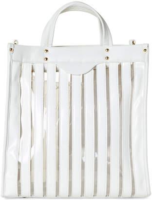 Urban Expressions White Emma Stripe PVC Vegan Tote