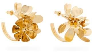 Simone Rocha Ornate Flower Embellished Hoop Earrings - Womens - Gold