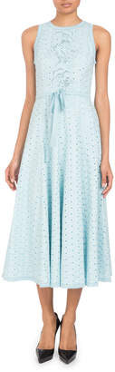 Andrew Gn Sleeveless Eyelet Tie-Waist A-Line Midi Dress