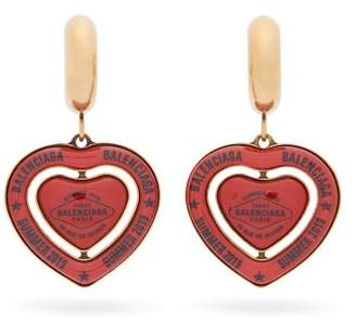 Balenciaga Bb Casino Chip Heart Drop Earrings - Womens - Red
