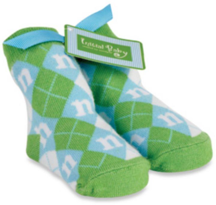 Mud Pie Mud PieTM Blue Initial Baby Socks