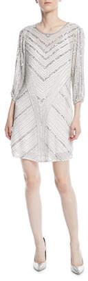 Parker Black Tetra Long-Sleeve Beaded Mini Dress