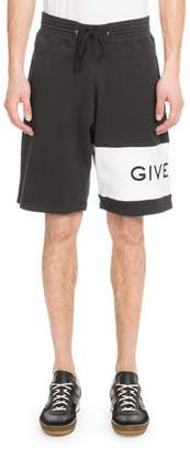 Givenchy Men's Embroidered-Logo Cotton Shorts