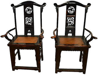 One Kings Lane Vintage Antique Chinese Hand-Carved Chairs - Set of 2 - FEA Home