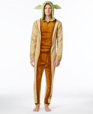 Star Wars Men's Yoda Hooded One-Piece Pajamas from Briefly Stated $70 thestylecure.com
