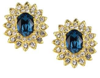 Kenneth Jay Lane Montana Sapphire Crystal Oval Earrings