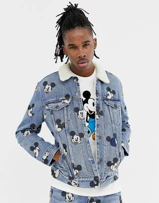 Levi's Levis mickey mouse print denim borg jacket in light wash