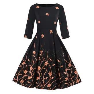 Wellwits Women's Boat Neck 3/4 Sleeve Pocket 1950s Vintage Fall Dress 4XL