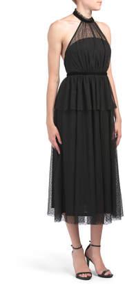 Halter Mock Neck Tulle Dress