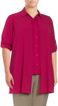 Calvin Klein Women's Solid Asymmetric-Hem Shirt - Spring Rose, Size 1x (14-16)