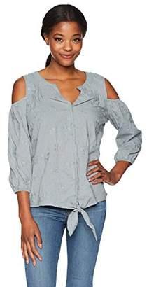 Democracy Women's 3/4 Blouson SLV Tie Front BTN up Shirt