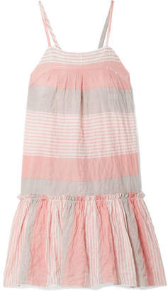 Lemlem Dera Tiered Striped Cotton-blend Gauze Mini Dress - Peach