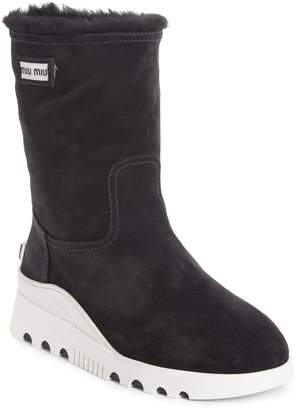 Miu Miu Genuine Shearling Boots