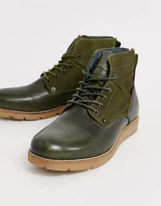 Levi's Levis Jax leather hiker boot in olive green