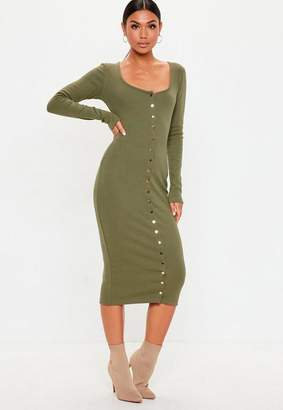 Missguided Tall Khaki Rib Long Sleeve Popper Midi Dress