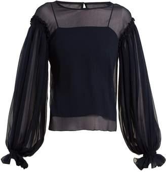 Emilio De La Morena Gathered-sleeve silk-chiffon blouse