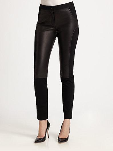 Alexander Wang Leather-Trim Skinny Leg Pants