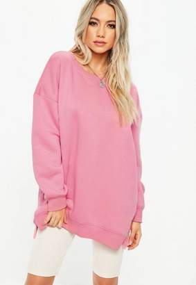 Missguided Pink Oversized Basic Long Sleeve Sweatshirt