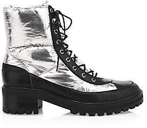 Schutz Women's Amaris Metallic Combat Boots