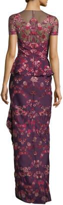 Marchesa Floral Scuba-Knit Peplum Gown