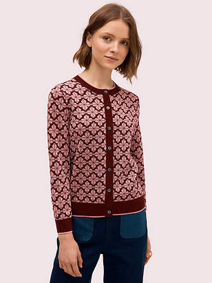 Kate Spade Spade Flower Cardigan, Deep Fig - Size L