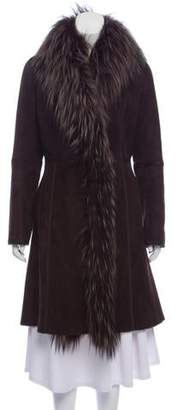 Dennis Basso Suede Fox Fur-Trimmed Coat
