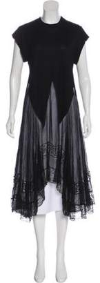 Givenchy Lace-Trimmed Semi-Sheer Dress Black Lace-Trimmed Semi-Sheer Dress