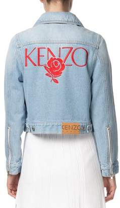 Kenzo Zip-Front Cropped Denim Jacket with Embroidery