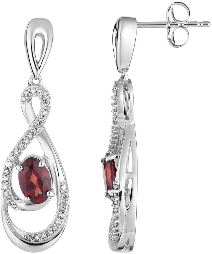 10k White Gold Garnet & 1/5 Carat T.W. Diamond Drop Earrings