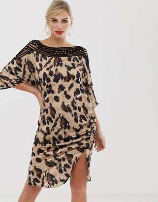 4928e4eea5 Liquorish shift dress in satin leopard print with lace cutout detail and  ruched side