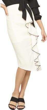 MinkPink Gingham Ruffle Midi Skirt