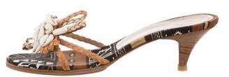 Casadei Shell-Embellished Slide Sandals