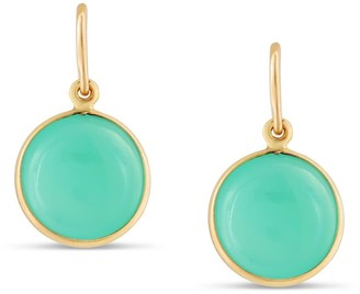 Tresor Collection Chrysoprase Simple Round Dangle Earring In 18K Yellow Gold