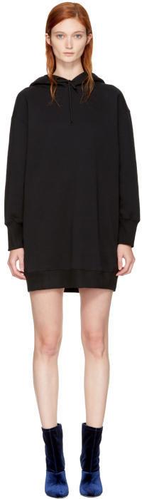 MSGM Black Oversized Hoodie Dress