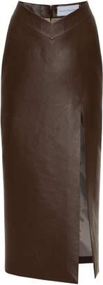 Aleksandre Akhalkatsishvili Slit Faux Leather Midi Pencil Skirt Size: