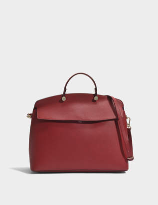 Furla My Piper L Top Handle Bag in Cherry Calfskin