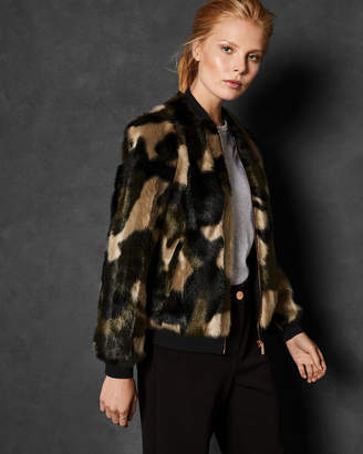 Ted Baker MEAA Camo faux fur bomber