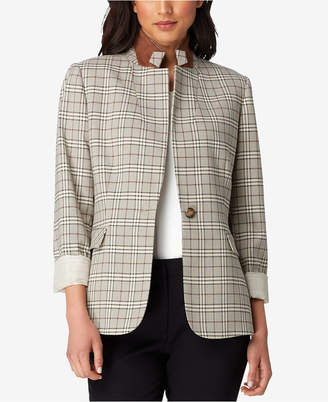 Tahari ASL Petite One-Button Plaid Blazer