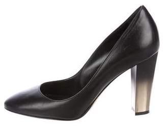 Oscar de la Renta Leather Round-Toe Pumps