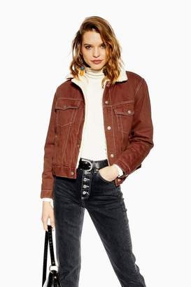 Topshop Rust Denim Borg Jacket