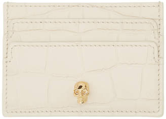 Alexander McQueen Off-White Croc Skull Card Holder