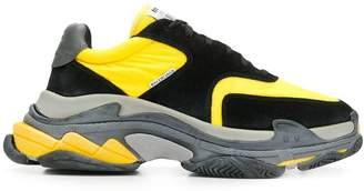 Balenciaga black and yellow triple s sneakers multicolor