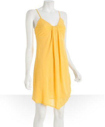Twelfth St. By Cynthia Vincent yellow matte jersey mini dress