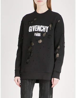 Givenchy Distressed logo-print cotton-jersey sweatshirt