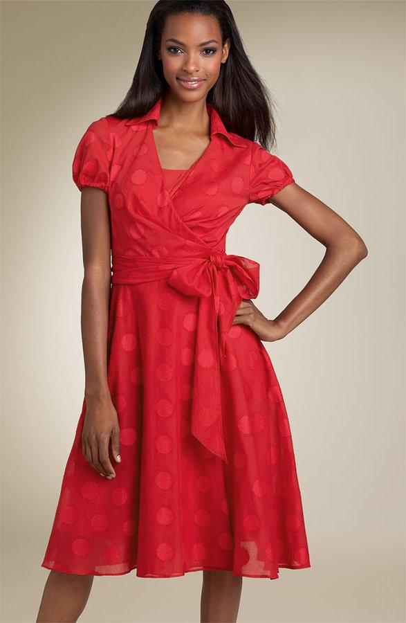 Donna Ricco Puff Sleeve Wrap Dress