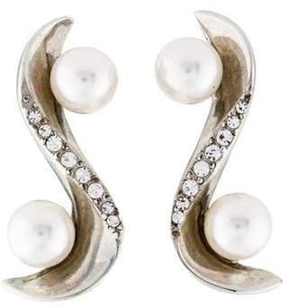 Oscar de la Renta Faux Pearl & Crystal Ear Crawlers