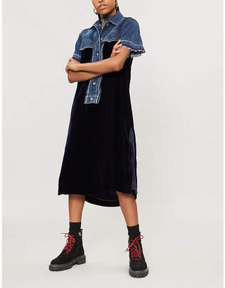 Sacai Denim-panel velvet dress