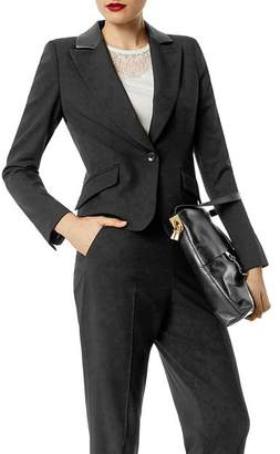 Karen Millen Faux-Leather Trim Boxy Blazer